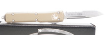 """Microtech Ultratech S/E OTF Automatic Knife Tan Handle 3.4"""" Stonewash Partial Serrated Blade"""