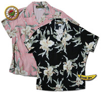 Easter Island Orchid Womens Fitted Hawaiian Shirts
