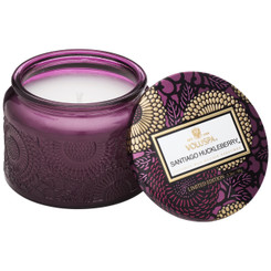 Petite Embossed Glass Jar Candle - Santiago Huckleberry