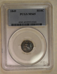1849 Seated Half Dime, PCGS or NGC graded  MS65