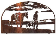 """Days End "" Cowboy Metal Wall Art by Lazart"