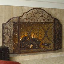 Triple Provincial Fireplace Screen