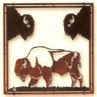 Buffalo Framed Metal Wall Art