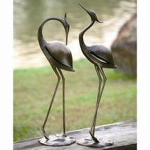 Stylized Garden Heron Pair Sculpture