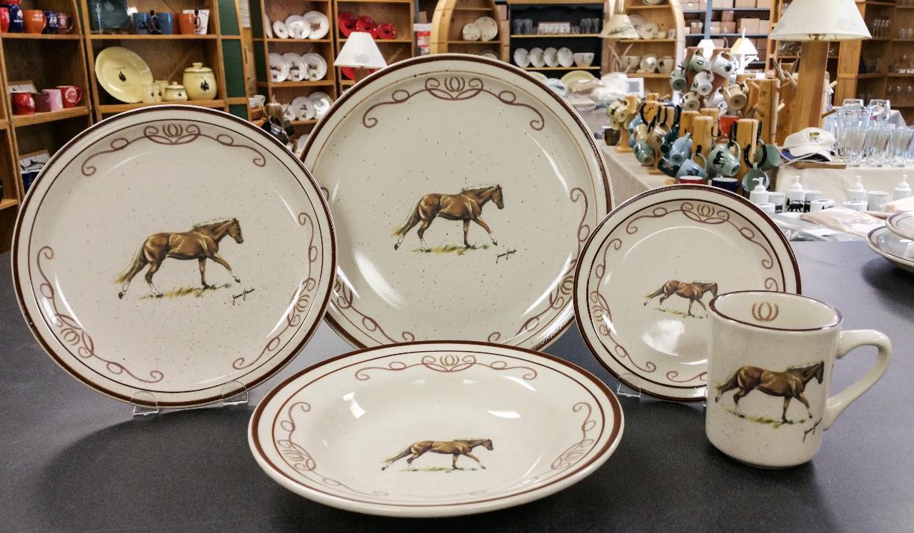 Horse W Lariat Dinnerware Set 20 Classic Rustic Brown