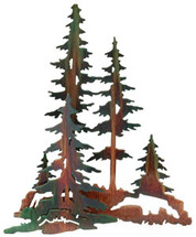 3D Pine Trees Metal Wall Art