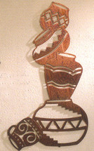 Vertical Southwest Pottery Metal Wall Art
