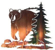 """Bear with Pine Tree"" Metal Wall Art"