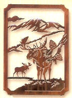 Moose Sculptures:  Moose Trail Framed Metal Wall Art