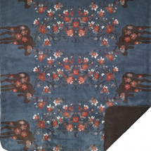 Moose Blossom-Blue Microplush Throw
