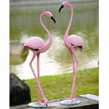 Pink Flamingo Pair  Sculpture