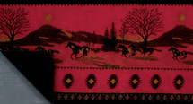 Red Running Horses Microplush Throw