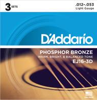 D'Addario EJ16-3D Phosphor Bronze Light 12-53 Acoustic Guitar Strings 3 Sets
