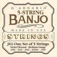 D'Addario EJ61 Nickel Light 10-23 5-string Banjo Strings