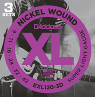 D'Addario EXL120-3D Nickel Super Light 9-42 Electric Guitar Strings 3 Sets