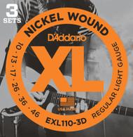 D'Addario EXL110-3D Nickel Regular Light 10-46 Electric Guitar Strings 3 Sets
