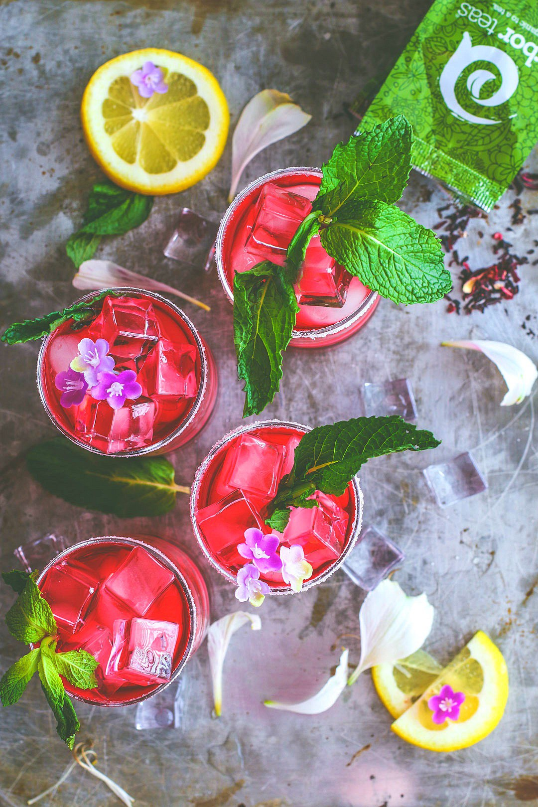 Spiked Hibiscus Iced Tea by Killing Thyme