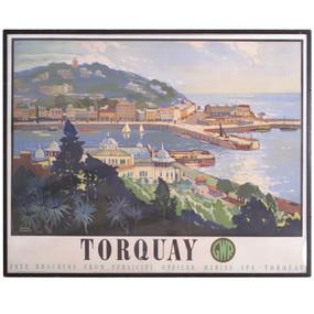 Torquay Railway Original Vintage Travel Poster,  1947