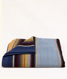 Serape Blanket Sea and Sky Blue with Maize Accent