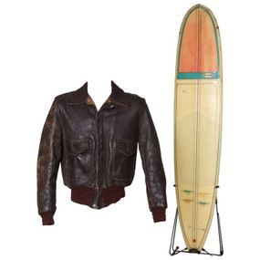 Original Steve McQueen Motorcycle Jacket and Gary Propper Surfboard, Late 1960s