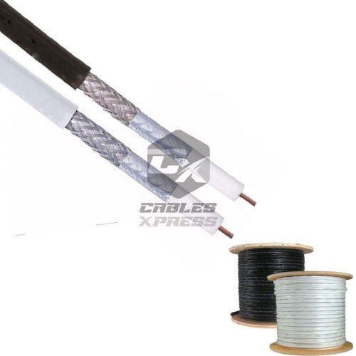 1000FT RG6 Coaxial Cable Dual Shield 18 AWG Coax For Satellite TV - (White / Black)