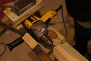 drill lathe setup