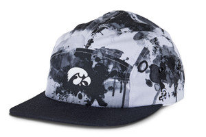 Iowa Hawkeyes Black & White Camp Style 5 Panel Cap - Abstract