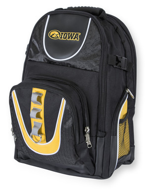 Iowa Hawkeyes Black & Gold Backpack - Deluxe