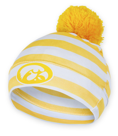 Iowa Hawkeyes Black   White Infant Beanie with Pom - Andre 4f41508e40d
