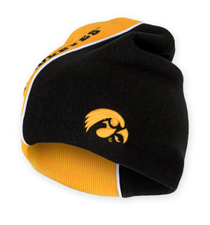 Iowa Hawkeyes Black & Gold Acrylic Knit Beanie - Curve