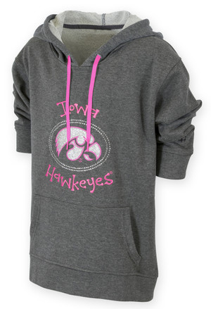 Iowa Hawkeyes Grey & Pink Youth Hoodie - Glitz