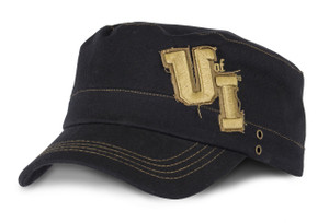 Iowa Hawkeyes Black & Gold Military Cap - Jenny