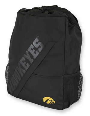 Iowa Hawkeyes Black Drawstring Backpack - Colby