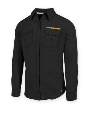 Iowa Hawkeyes Men's Black Button Down Shirt - Curtis