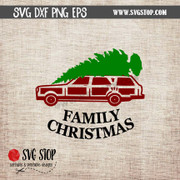 christmas vacation station wagon tree clipart cut file