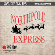 Northpole express santa sleigh reindeer clipart cut file svg dxf png