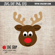 cute reindeer face clipart cut file SVG DXF PNG