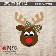 cute reindeer face with bow clipart cut file svg png