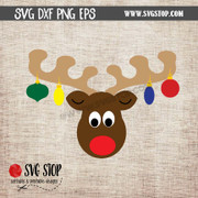cute reindeer face with ornaments clipart cut file svg dxf png