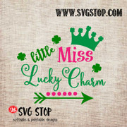 Little Miss Lucky Charm St. Patrick's Day Cut File in SVG, DXF, JPG, PNG, and EPS format for Silhouette, Cricut, Brother Scan n cut, various other cutting machines and screen printing.