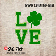 Love Shamrock St. Patrick's Day Cut File Clip Art in SVG, DXF, JPG, PNG, and EPS format for Silhouette, Cricut, Brother Scan n cut, various other cutting machines and screen printing.