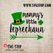 Mommys Little Leprechaun St. Patrick's Day Cut File Clip Art in SVG, DXF, JPG, PNG, and EPS format for Silhouette, Cricut, Brother Scan n cut, various other cutting machines and screen printing.