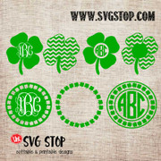 Shamrock Monogram Frames St. Patrick's Day Cut File Clip Art in SVG, DXF, JPG, PNG, and EPS format for Silhouette, Cricut, Brother Scan n cut, various other cutting machines and screen printing.