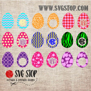 SVG Stop's Patterned Easter Eggs and Monogram EggsSVG, DXF, JPG, PNG, and EPS format cut file clipartfor Silhouette, Cricut, Brother Scan n cut, andvarious other cutting machines.