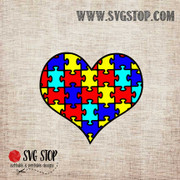 Autism Awareness Puzzle Pieces Heart SVG, DXF, JPG, PNG, and EPS format cut file clipartfor Silhouette, Cricut, Brother Scan n cut, andvarious other cutting machines.
