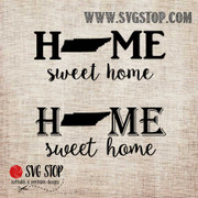 Tennessee Home Sweet Home SVG, DXF, JPG, PNG, and EPS format cut file clip art for Silhouette, Cricut, Brother Scan n cut, and various other cutting machines.