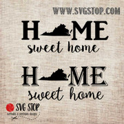 Virginia Home Sweet Home SVG, DXF, JPG, PNG, and EPS format cut file clip art for Silhouette, Cricut, Brother Scan n cut, and various other cutting machines.