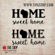 Wisconsin Home Sweet Home SVG, DXF, JPG, PNG, and EPS format cut file clip art for Silhouette, Cricut, Brother Scan n cut, and various other cutting machines.