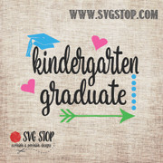 Kindergarten Graduate Arrow Dots Hearts SVG, DXF, JPG, PNG, and EPS format cut file clipartfor Silhouette, Cricut, Brother Scan n cut, andvarious other cutting machines.