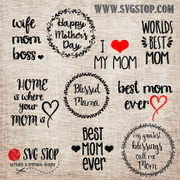 Mothers Day Mini Bundle of over 75 SVG, DXF, JPG, PNG, and EPS format cut file clip art designs for Silhouette, Cricut, Brother Scan n cut, and various other cutting machines.